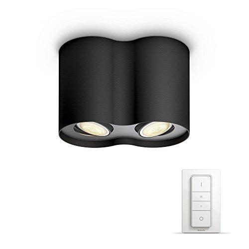 Philips Hue LED 2-er Spot Pillar inkl. Dimmschalter, dimmbar, alle Weißschattierungen, steuerbar via App, schwarz, kompatibel mit Amazon Alexa (Echo, Echo Dot)