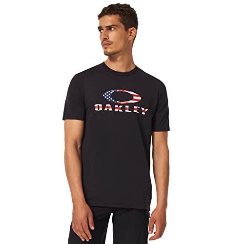 Oakley Herren O Bark T-Shirt, Schwarz-amerikanische Flagge, Klein