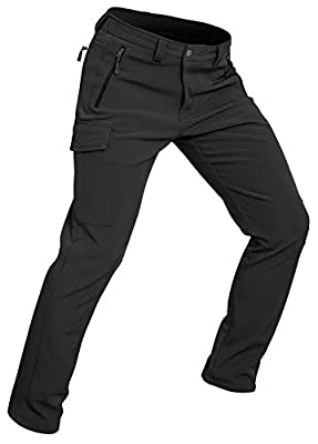 Wespornow Men's-Fleece-Lined-Hiking-Pants Water-Resistance-Snow-Ski-Pants Soft Shell Snowboarding Pants for Winter, Outdoor (Black, X-Large)