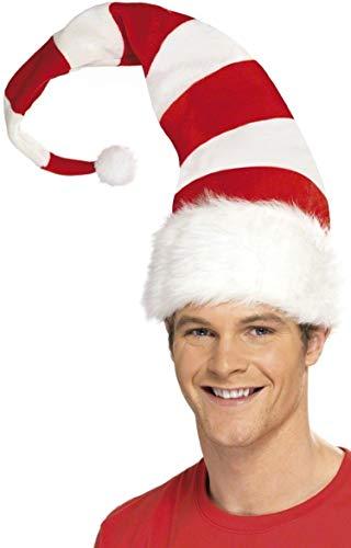 Fancy Me Femmes Hommes Sucre d'orge Rouge Blanc à Rayures Noël Bonnet Père Noël Festif Accessoire Déguisement