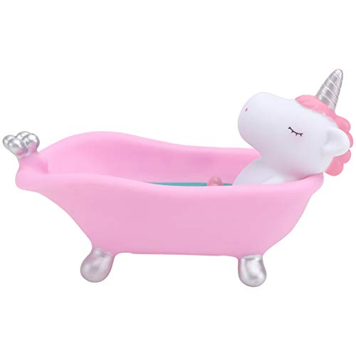 Amosfun Jabonera de plástico con forma de unicornio, estatua decorativa, jabonera, jabonera, soporte para esponja, soporte para baño, ducha, cocina, lavabo, color rosa