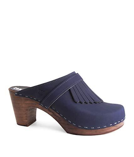 Sandgrens Swedish Clog Mules High Rise Wooden Heel for Women, US 8-8.5   Venice Navy DK, EU 39