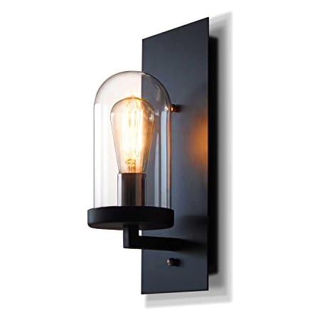 Rétro Créatif Fer Verre Luminaire Applique Murale Industriel Style Minimaliste Design couloir Lampe Murale pour Décoration de Maison Cuisine Restaurants Café Club Appliques E27 Ampoule (noir)