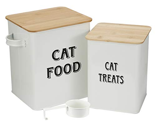 Pethiy - Cajas para Comida y golosinas para Animales - Contenedor de Comida para Gato - Tapas de Madera herméticas y Pala - Acero al Carbono Revestido -Capacidad 8L + 5L-Blanco