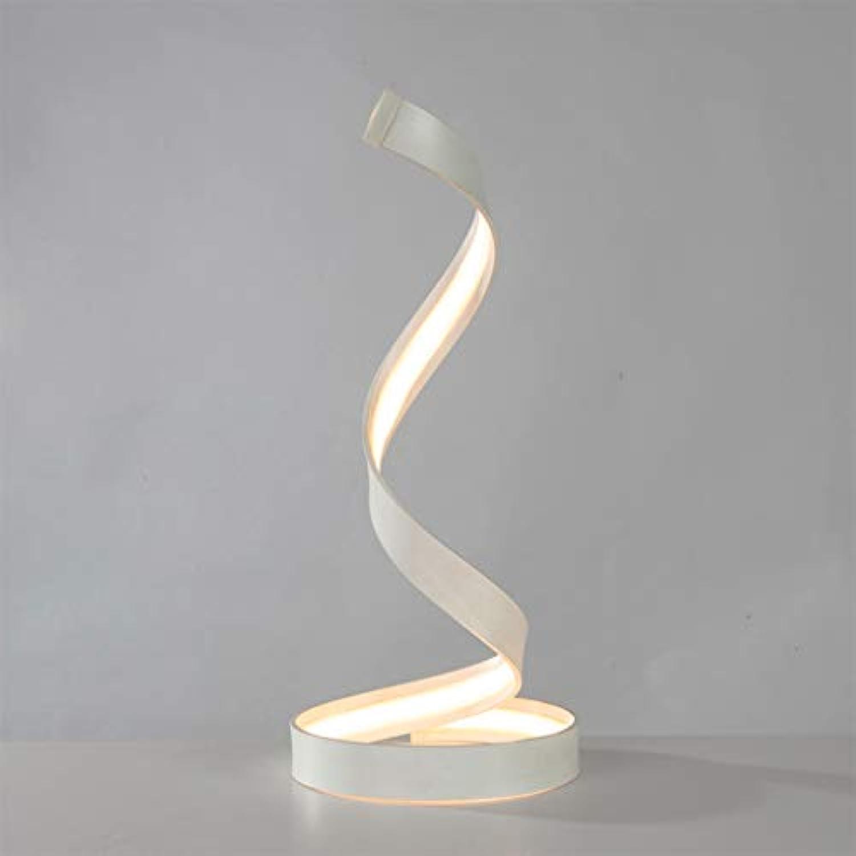 ZQH LED Spiral Bedside Tabelle Lampe, Modern Gebogen Schreibtischlampe Kreativ Acryl LED Einstelllampe Nachtlicht Schlafzimmer Wohnzimmer Dekoration Licht Schalter Taste,15WWeißlight