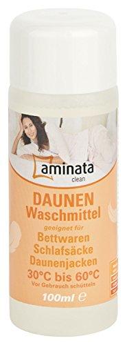 Aminata Clean – Daunenwaschmittel für Betten, Jacken, Schlafsäcke | 100 ml | flüssiges Waschmittel geeignet für Daunen und Federn | Reinigungsmittel Waschpulver Spezialwaschmittel