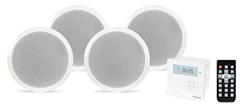 Kit amplificatore da parete, USB, Bluetooth, con 4altoparlanti da soffitto,13,3 cm (5,25').