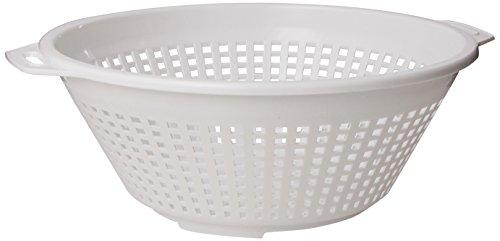 United Solutions Four Quart White Plastic Colander in White -4QT Plastic Pasta Strainer in White