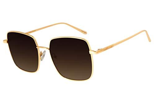 Óculos de Sol Feminino CHILLI BEANS Banhado a Ouro Degradê Marrom, OCMT2573 5721, Dourado, Tamanho Único