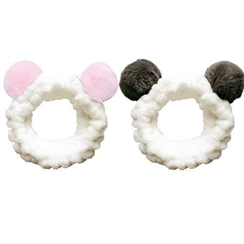 Makeup Stirnbänder, Frauen Mode Plüsch Stirnband Haarschlaufe Elastic Coral Fleece Haarband mit niedlichen Pompons für Waschen Gesicht Dusche Spa Maske(Schwarz + Rot)