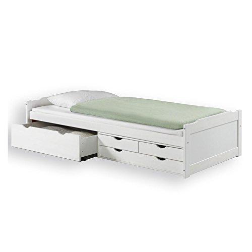 IDIMEX Lit Fonctionnel Andrea en pin Massif lasuré Blanc 90 x 200 cm, lit pour Enfant avec Rangement
