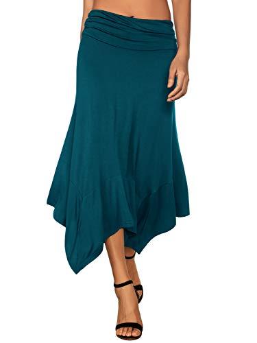 DJT Damen Elastische Taille Einfarbig Ausgestelltes A-Linie Faltenrock Blaugrün M