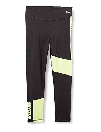 PUMA Runtrain 7/8 Tights G Mallas Deporte, Niñas, Black/Soft Fluo Yellow, 176