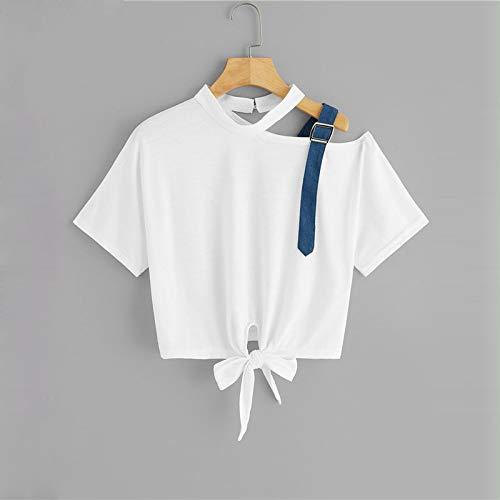 QYYDTX Nueva Camiseta de la Manera Camiseta Asimétrica Cuello Nudo Dobladillo Camiseta Blanca de Verano de Manga Corta Camiseta de Las Mujeres Escote Femenino Elegante Tops M Blanco: Amazon.es: Deportes y aire