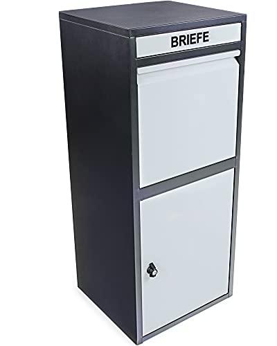 Ondis24 Korona Paketbox Postbox für Pakete, Päckchen, Warensendungen und Briefe mit Paketsafe (103 cm, Schwarz Grau)