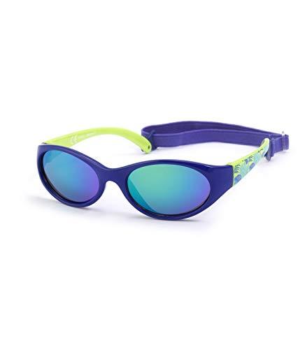 Kiddus Sonnenbrille Kids Comfort Junge und Mädchen. Alter 2 bis 6 Jahre. Total Flexible Modell für Extra Komfort. Mit Band und sehr Resistent. 100% UV-Schutz. Nützliches Geschenk (Tropical blue)