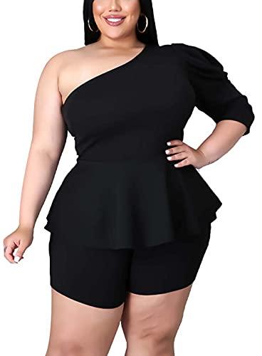 Plus Size 2 Piece Outfits for Women - Sexy One Shoulder Peplum Tops Short Pants Set Jumpsuits Black XX-Large
