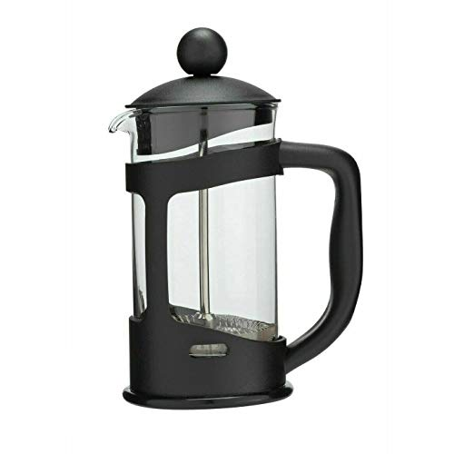 Glow Classic Continental 350ml Black Cafetière – Premium Manual 3 Cup French Press Coffee Maker with Toughened Shockproof Glass Pot and Plunger Filter for Ground Beans Espresso Tea