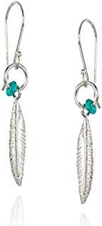 925 Sterling Silver Feather Earrings with Turquoise Bead Accent and Small Hoop