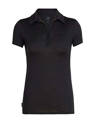 Icebreaker Merino-Damen-Poloshirt Merino Tech Lite Ss, Damen, Tech Lite Short Sleeve Polo, schwarz, Small
