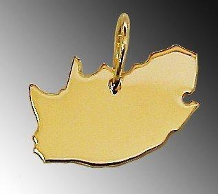 Anhänger Gold 585 Landkarte SÜDAFRIKA - Damen Herren Kettenanhänger in massiv Gelbgold