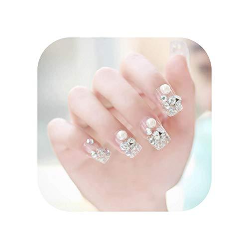 24 Stück gefälschte Nägel Glitter Pearl Ins Künstliche Französisch Mehrfarbige spitze Braut Falsche Nägel Selbstklebende Tipps Aufkleber-White-