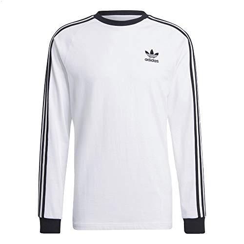 adidas Camiseta de manga larga con 3 rayas. negro/blanco L