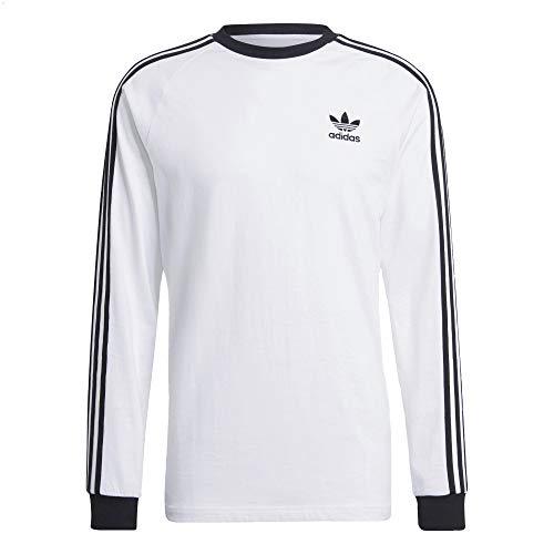 adidas Camiseta de manga larga con 3 rayas. negro/blanco S