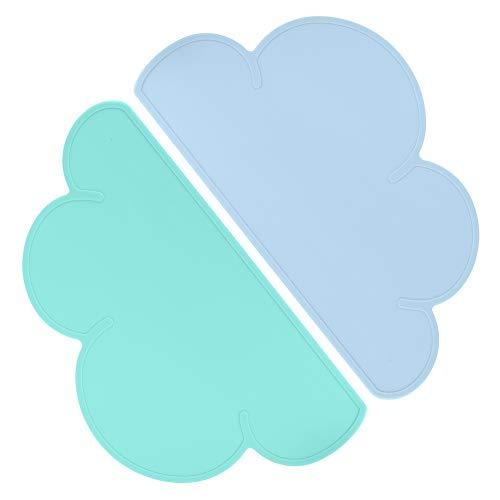 hellomagic 2 STÜCKE Kinder Tischset, Wolkenform Platzset, Silikon Wasserdicht rutschfeste Platzdeckchen für Kleinkinder, Kinder, Säugling (48 × 27 cm)(Blau+Grün)