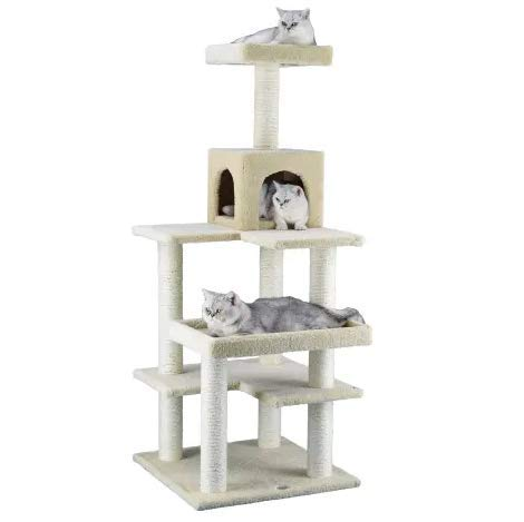 """Mix.Home Cat Tree Condo with Sisal Covered Scratching Posts, 64"""" H. Best Choice for Your Pets. Kitty Posts. Cat's Stands. Best Cat Bed & Trees & Condos. Pet's Playground."""