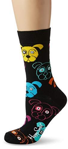 Happy Socks Damen Freizeitsocken Dog Socken, Schwarz, 36-40 (Herstellergröße: 36-40)