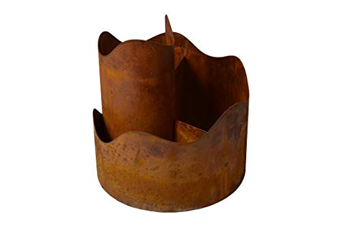 Dio 1er Toscana Kräuterspirale Kräuterschnecke Kräuterbeet Kräuterturm groß BxHxL ca.30x30x30cm Edelrost Metall Pflanzspirale Gartendekoration Spirale Blumenpyramide
