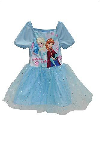 Disney Robe Tulle Enfant Fille Frozen (128/134, Bleu)