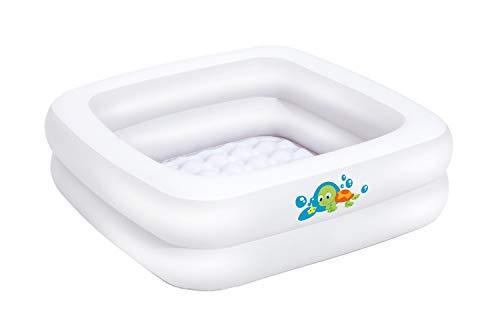 Bieco Planschbecken Baby | ca. 86x86x25 cm | Aufblasbare Badewanne für Drinnen und Draußen | Swimming Pool Rechteckig | Kleines Planschbecken für Kinder | Aufblasbarer Pool Eckig | Baby Bathtub