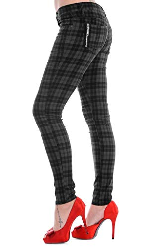 Pantalones Skinny Tartán a Cuadros de Banned EMO Punk Rock - Gris (S)