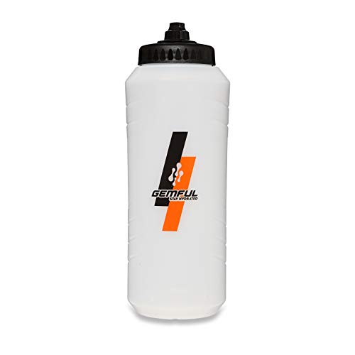 Botella de Agua Exprimible 1 Litro Bicicleta y Deportes Alto Flujo Tapa Autosellable Sin BPA (Blanco)