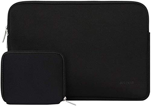 MOSISO Laptop Sleeve Compatible with 13-13.3 inch MacBook Pro, MacBook Air, Notebook Computer, Neoprene Bag Cover with Small Case, Black