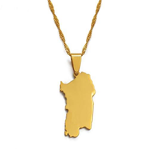 VAWAA Italien Sardinien Anhänger und Halskette Goldfarbe Trendy Italian Sardegna/Sardaigne Schmuck Geschenke 45cm dünne Kette