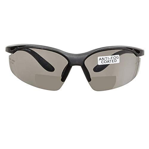 voltX 'CONSTRUCTOR' (AHUMADO/GRIS dioptría +2.5) Gafas de Seguridad de Lectura BIFOCALES que cumplen con la certificación CE EN166F / Gafas para Ciclismo incluye cuerda de seguridad - Reading Safety Glasses ⭐