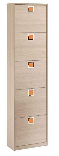 Maconi schoenenkast met vijf deuren regenboog 850 met wit frame en front taupe 20 paar
