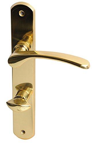 Alpertec 32740053 Amos-LS Messing poliert für Badtüren WC Drückergarnitur Türdrücker Türbeschläge Neu, Badezimmertüren