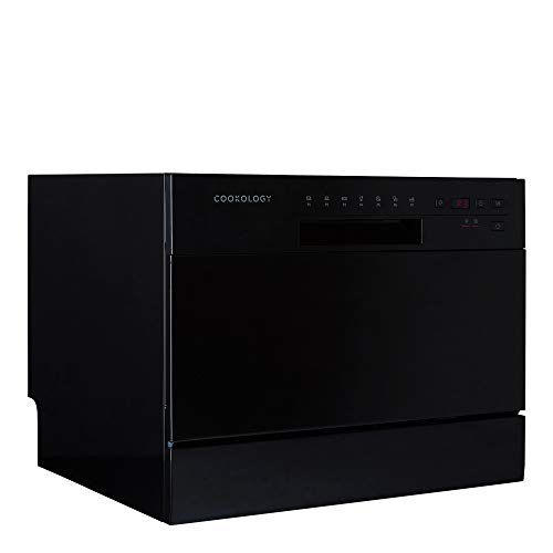 Cookology Mini Counter top, Tabletop Dishwasher, 6 place settings (Black)