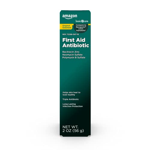 Amazon Basic Care First Aid Triple Antibiotic Ointment, Treats Minor Cuts, Scrapes and Burns, 2 Ounces
