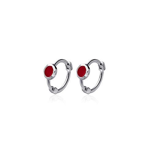 Vvff Red Zircon Sweet Mini Stud Earrings For Women Real Silver Teen Girl Party Jewelry