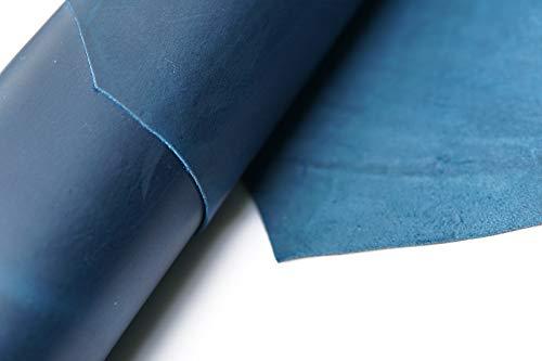 Piel de vacuno, herramienta de costura artesanal, piel, cuadrada, 1,8 – 2,0 mm de grosor, piel de vacuno, caballo de hobby, artesanía, accesorios de cuero, piezas de piel... (azul, 12 x 24 pulgadas)