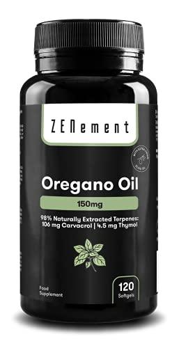 Oregano olie, 150 mg, 120 Softgel | met Extra Vierge Olijfolie | Goed voor de luchtwegen en de spijsvertering | 100% natuurlijke ingrediënten, zonder toevoegingen | van Zenement