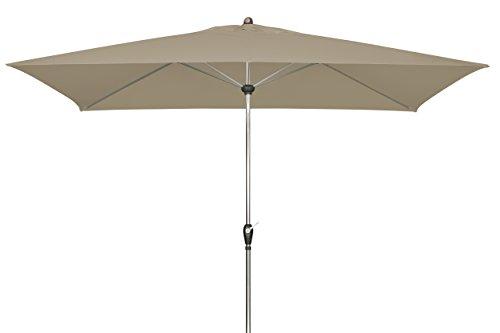 doppler Aluminium Sonnenschirm SL-AZ 220x140- Rechteckiger Kurbelschirm- Modernes Design- Starker UV-Schutz- 220x140cm- Greige-Taupe