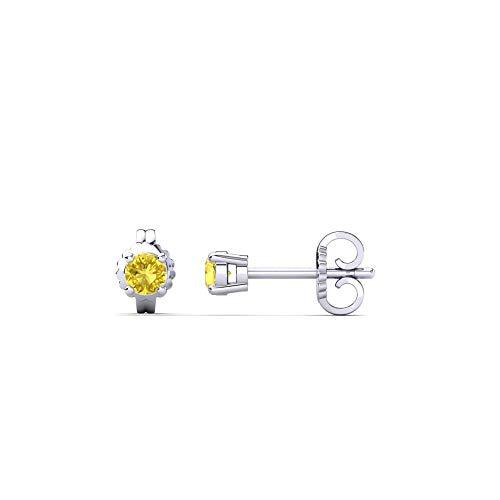 Ani's Pendientes solitarios de diamante de zafiro amarillo de 3 mm-9 mm, de corte redondo D/VVS1 en plata de ley 925 chapada en oro blanco de 14 quilates