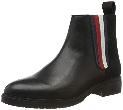 Tommy Hilfiger Sporty Monogram Flat Bootie Botines para Mujer,Negro ( Black 990) , 40 EU