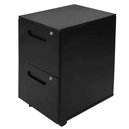 Dioche Cajonera de oficina negro, armario clasificador móvil, armario de 2 cajones con ruedas, con cerradura, capacidad de carga de 50 kg, 69,5 x 39 x 50 cm